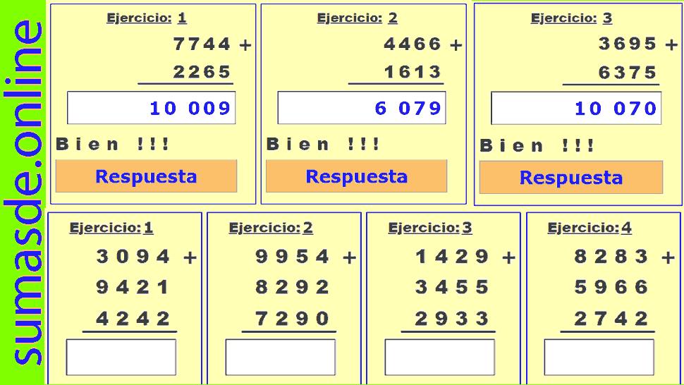 sumas y restas de 4 cifras llevando para imprimir