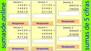 sumas de 5 cifras llevando para imprimir