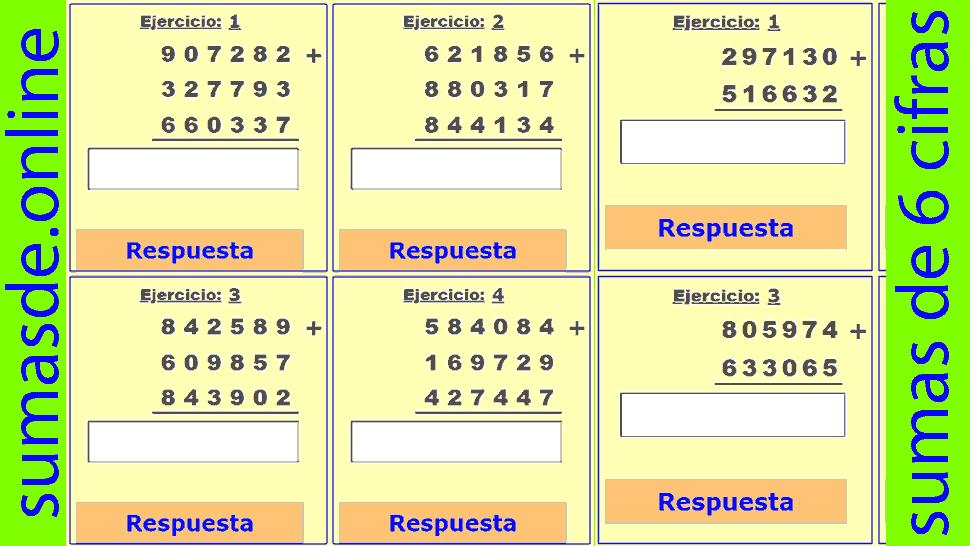 sumas de 6 cifras para niños