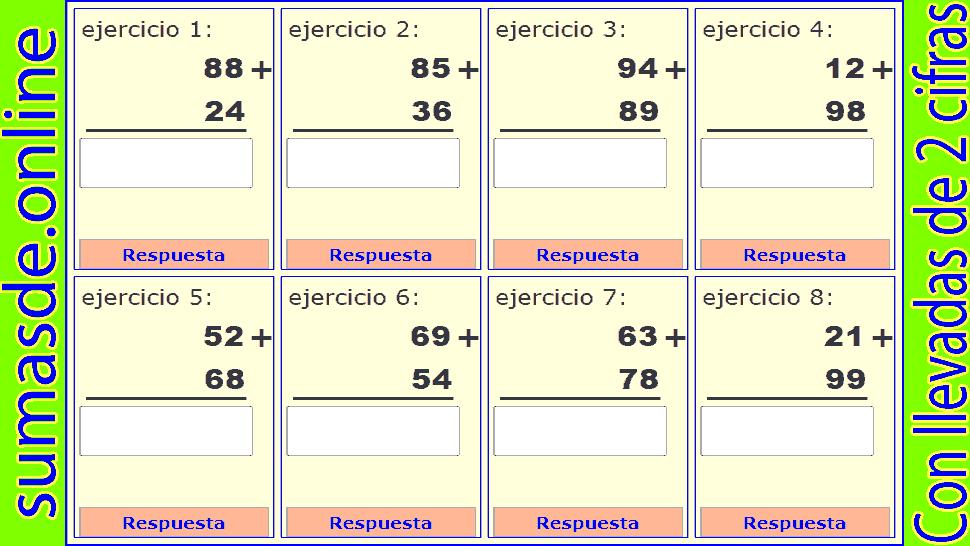 sumas llevando de dos cifras