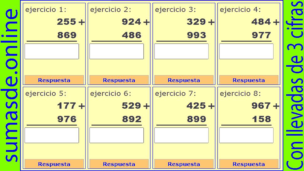 sumas de tres cifras llevando
