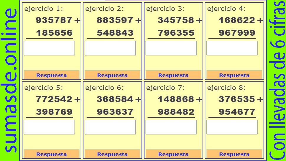 sumas con llevadas de 6 cifras