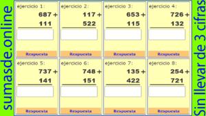 sumas de tres cifras sin llevar