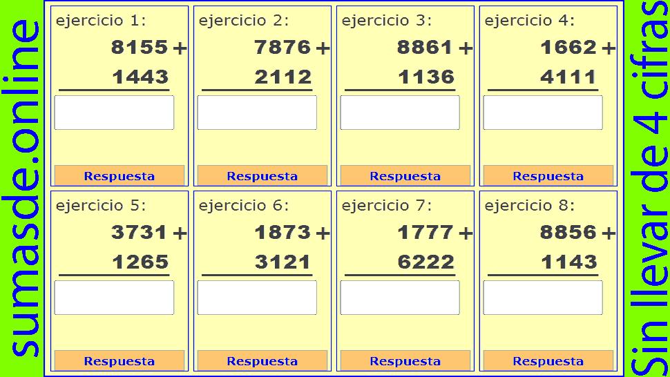 Sumas sin llevadas de 4 cifras