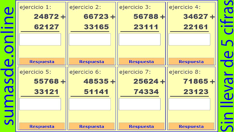 sumas sin llevadas de 5 cifras