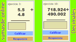 ejercicios de sumas con decimales para imprimir