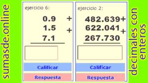 suma de números decimales con números enteros