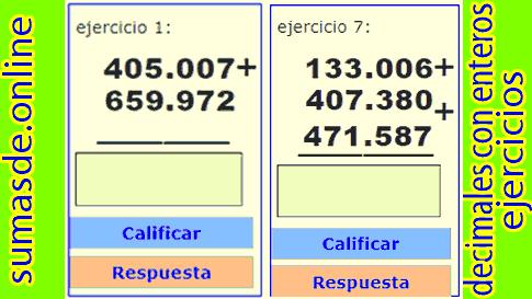 sumas con punto decimal para cuarto grado de primaria
